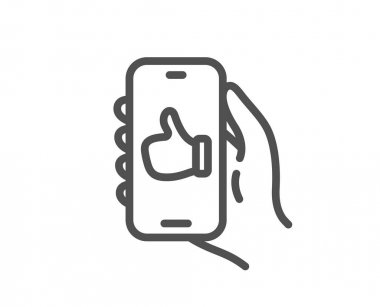 Like app line icon. Hand hold phone sign. Cellphone with screen notification symbol. Quality design element. Linear style like app icon. Editable stroke. Vector icon