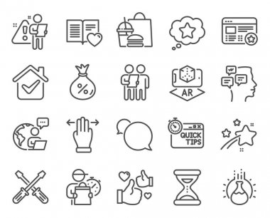 Technology icons set. Included icon as Multitasking gesture, Augmented reality, Love book signs. Loan, Time, Survey symbols. Chemistry experiment, Messenger, Quick tips. Screwdriverl, Like. Vector icon