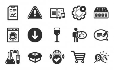 Like, Laundry and Music book icons simple set. Bitcoin mining, Chemistry lab and Scroll down signs. Message, Market sale and Report document symbols. Wine glass, Mattress and Opened box. Vector icon