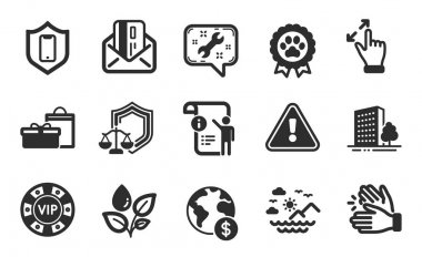 Smartphone protection, Manual doc and Clapping hands icons simple set. Spanner, Global business and Touchscreen gesture signs. Justice scales, Plants watering and Credit card symbols. Vector icon