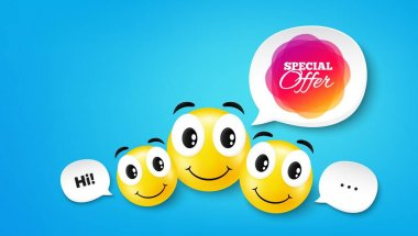 Special offer banner. Smile face with speech bubble. Discount sticker shape. Sale coupon bubble icon. Smile face character. Special offer speech bubble icon. Chat background. Vector icon