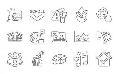 Seo target, Packing boxes and Online loan line icons set. Meeting, Trade infochart and Arena stadium signs. Search, Love music and Scroll down symbols. Line icons set. Vector icon