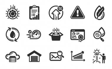 Hypoallergenic tested, Cloud server and 5g upload icons simple set. Packing boxes, Water analysis and Gear signs. Seo certificate, Refill water and Creative idea symbols. Flat icons set. Vector icon