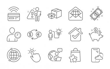 Currency exchange, Business idea and Contactless payment line icons set. Packing boxes, Saving money and Payment signs. Time management, Loyalty points and Globe symbols. Line icons set. Vector icon