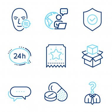 Business icons set. Included icon as Hiring employees, Loyalty ticket, 24h service signs. Medical drugs, Dots message, Packing boxes symbols. Problem skin, Security shield line icons. Vector icon