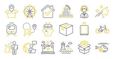 Set of Transportation icons, such as Roller coaster, Baggage reclaim, Train symbols. Lighthouse, Airplane travel, Bicycle signs. Shipping support, Ferris wheel, Parcel. Packing boxes, Ship. Vector icon
