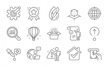 Cogwheel, Seo internet and Atm service line icons set. Swipe up, Manual doc and Chemistry pipette signs. Hypoallergenic tested, Air balloon and Packing boxes symbols. Line icons set. Vector icon