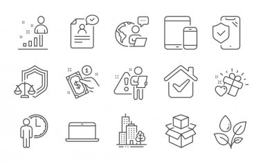 Payment method, Resume document and Justice scales line icons set. Mobile devices, Skyscraper buildings and Stats signs. Love gift, Packing boxes and Waiting symbols. Line icons set. Vector icon