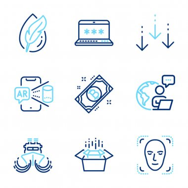 Technology icons set. Included icon as Bitcoin, Packing boxes, Face detection signs. Laptop password, Hypoallergenic tested, Augmented reality symbols. Scroll down, Ship line icons. Vector icon
