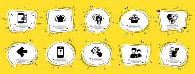 Business icons set. Speech bubble offer banners. Yellow coupon badge. Included icon as Couple, Swipe up, Packing boxes signs. Left arrow, Star, Customer survey symbols. Vector icon
