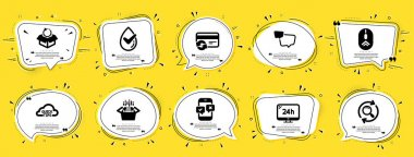 Technology icons set. Speech bubble offer banners. Yellow coupon badge. Included icon as Packing boxes, Swipe up, Speech bubble signs. Dermatologically tested, Change card, Quick tips symbols. Vector icon