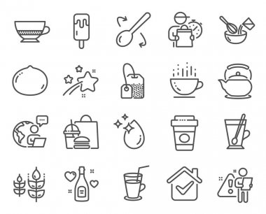 Food and drink icons set. Included icon as Macadamia nut, Cooking whisk, Cooking spoon signs. Teapot, Water drop, Gluten free symbols. Bombon coffee, Tea bag, Cocktail. Coffee cup, Tea mug. Vector icon