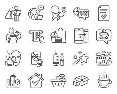 Business icons set. Included icon as Face cream, Medical vaccination, Dog certificate signs. Bus travel, Delete order, Apartment insurance symbols. Airplane, Coffee cup, Approved checklist. Vector icon