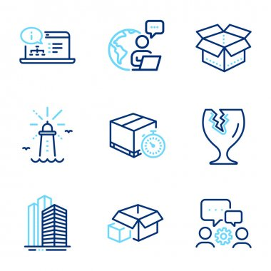 Industrial icons set. Included icon as Engineering team, Lighthouse, Skyscraper buildings signs. Fragile package, Online documentation, Open box symbols. Packing boxes, Delivery timer. Vector icon