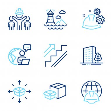 Industrial icons set. Included icon as Buildings, Parcel delivery, Lighthouse signs. Engineering team, Global engineering, Working process symbols. Packing boxes, Stairs line icons. Vector icon