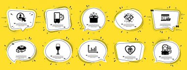 Business icons set. Speech bubble offer banners. Yellow coupon badge. Included icon as Packing boxes, Special offer, Marketplace signs. Dot plot, Wineglass, User symbols. Vector icon