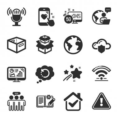 Set of Technology icons, such as World planet, Analytics graph, Cloud protection symbols. Heart rating, Employees group, Recovery data signs. 5g internet, Wifi, Engineering documentation. Vector icon