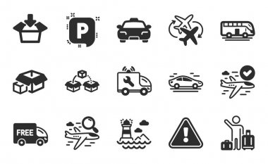 Car service, Taxi and Packing boxes icons simple set. Lighthouse, Free delivery and Parking signs. Bus tour, Airport transfer and Parcel shipping symbols. Flat icons set. Vector icon