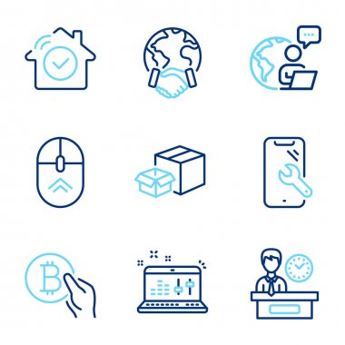 Technology icons set. Included icon as Smartphone repair, Bitcoin pay, Packing boxes signs. House security, Global business, Sound check symbols. Presentation time, Swipe up line icons. Vector icon