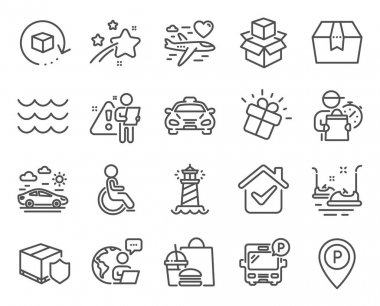 Transportation icons set. Included icon as Delivery insurance, Bus parking, Bumper cars signs. Disabled, Package box, Lighthouse symbols. Car travel, Packing boxes, Return package. Parking. Vector icon