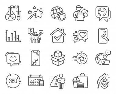 Technology icons set. Included icon as Clock, Smile face, Globe signs. Diagram graph, Timer, Chemistry lab symbols. Calendar, Smartphone repair, Hypoallergenic tested. Packing boxes, Heart. Vector icon