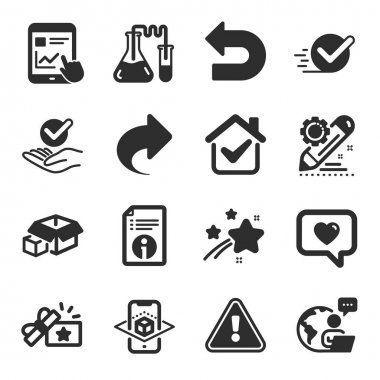 Set of Technology icons, such as Chemistry lab, Packing boxes, Technical info symbols. Loyalty gift, Share, Augmented reality signs. Undo, Internet report, Project edit. Checkbox, Approved. Vector icon