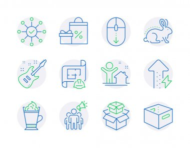 Business icons set. Included icon as Engineering plan, Energy growing, Packing boxes signs. Shopping, Survey check, Animal tested symbols. Latte coffee, Brand ambassador, New house. Vector icon