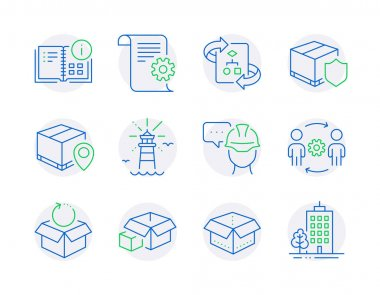 Industrial icons set. Included icon as Engineering team, Instruction info, Parcel tracking signs. Packing boxes, Lighthouse, Foreman symbols. Delivery insurance, Return package, Open box. Vector icon