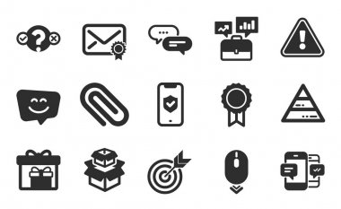 Business portfolio, Packing boxes and Paper clip icons simple set. Dots message, Delivery boxes and Phone protection signs. Scroll down, Verified mail and Reward symbols. Flat icons set. Vector icon