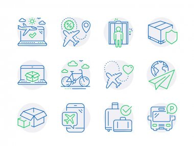Transportation icons set. Included icon as Airplane travel, Baggage reclaim, Flight mode signs. Elevator, Paper plane, Flight sale symbols. Delivery insurance, Honeymoon travel line icons. Vector icon
