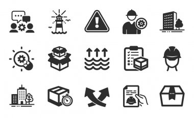 Package box, Evaporation and Buildings icons simple set. Engineering team, Lighthouse and Technical documentation signs. Delivery timer, Packing boxes and Engineer symbols. Flat icons set. Vector icon