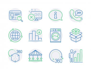 Technology icons set. Included icon as 360 degrees, Carousels, Washing machine signs. 24h service, Decreasing graph, Information symbols. Globe, Website search, Augmented reality. Vector icon