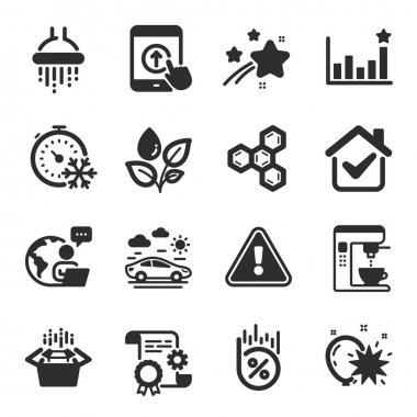 Set of Business icons, such as Balloon dart, Efficacy, Car travel symbols. Construction document, Coffee maker, Packing boxes signs. Plants watering, Shower, Loan percent. Freezing timer. Vector icon