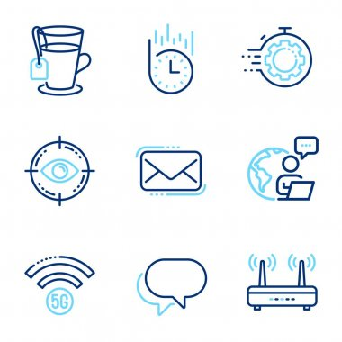Business icons set. Included icon as Wifi, Eye target, Fast delivery signs. Talk bubble, Seo timer, Tea symbols. 5g wifi, Messenger mail line icons. Internet router, Optometry. Line icons set. Vector icon