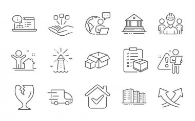 Truck delivery, Intersection arrows and Parcel checklist line icons set. Engineering team, Lighthouse and New house signs. Packing boxes, Fragile package and Court building symbols. Vector icon