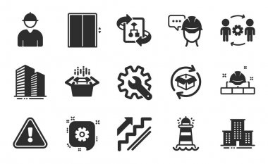 Lighthouse, Cogwheel and Engineering team icons simple set. Foreman, Stairs and Return parcel signs. Technical algorithm, Packing boxes and University campus symbols. Flat icons set. Vector icon
