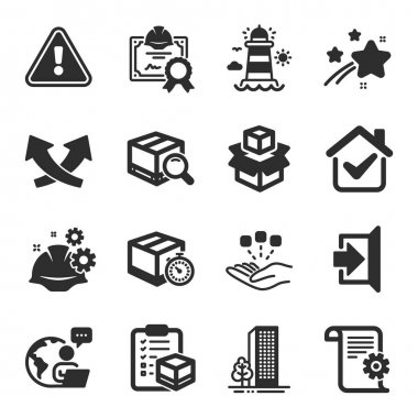 Set of Industrial icons, such as Consolidation, Buildings, Lighthouse symbols. Delivery timer, Intersection arrows, Search package signs. Parcel checklist, Working process, Exit. Vector icon