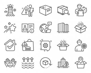 Industrial icons set. Included icon as Open box, Office box, Packing boxes signs. Cogwheel, Package location, Builders union symbols. Buildings, Evaporation, Lighthouse. Engineer. Vector icon