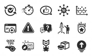 Feedback, Winner medal and Timer icons simple set. Question mark, Swipe up and Dot plot signs. Loyalty star, Packing boxes and Seo targeting symbols. Flat icons set. Vector icon