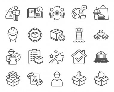 Industrial icons set. Included icon as Foreman, Engineering team, Instruction info signs. Delivery timer, Lighthouse, Parcel shipping symbols. Parcel tracking, Court building, Send box. Vector icon