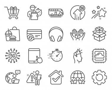 Technology icons set. Included icon as Headphones, Recovery gear, Brand ambassador signs. 5g upload, Bus tour, Timer symbols. 5g technology, Cloud computing, Change card. Rating stars. Vector icon