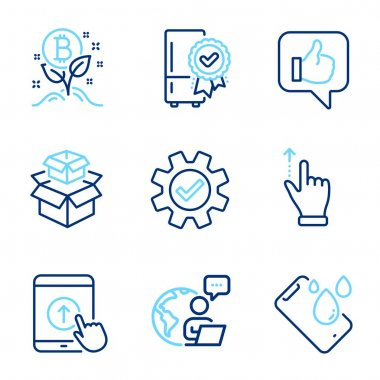 Technology icons set. Included icon as Like, Service, Touchscreen gesture signs. Certified refrigerator, Smartphone waterproof, Packing boxes symbols. Swipe up, Bitcoin project line icons. Vector icon