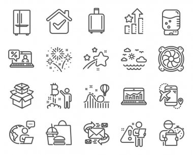 Business icons set. Included icon as Packing boxes, Water cooler, Fireworks signs. Web analytics, Bitcoin project, Baggage reclaim symbols. Travel sea, Refrigerator, Online loan. E-mail. Vector icon
