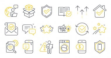 Set of Technology icons, such as Smartphone protection, Smile, Approved documentation symbols. Confirmed mail, Swipe up, Confirmed signs. Phone payment, Approved, Employees messenger. Star. Vector icon