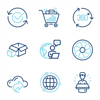 Technology icons set. Included icon as Globe, Brand ambassador, Approved signs. Fan engine, 360 degree, Packing boxes symbols. Seo shopping, Cloud share line icons. Internet world, Man speak. Vector icon