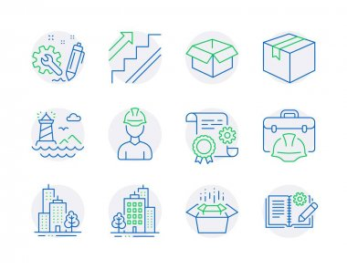 Industrial icons set. Included icon as Packing boxes, Construction document, Buildings signs. Engineering, Lighthouse, Skyscraper buildings symbols. Parcel, Stairs, Opened box. Foreman. Vector icon