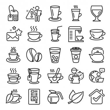 Coffee and Tea line icons. Set of Cappuccino, Juice with ice and Latte coffee cup icons. Teapot, Coffeepot and Hot drink with Steam. Mint leaf tea, Herbal beverage and Vending. Hot latte cup. Vector icon