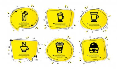 Latte coffee, Latte and Espresso icons simple set. Yellow speech bubbles with dotwork effect. Takeaway coffee, Water glass and Ice cream signs. Vector icon