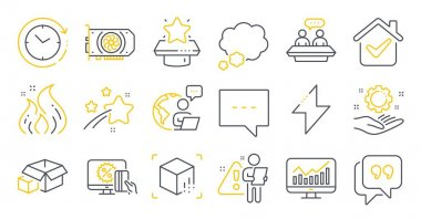 Set of Technology icons, such as Talk bubble, Employee hand, Augmented reality symbols. Energy, Online shopping, Time change signs. Statistics, Winner podium, Quote bubble. Packing boxes. Vector icon