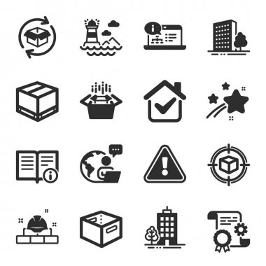 Set of Industrial icons, such as Return parcel, Lighthouse, Skyscraper buildings symbols. Parcel tracking, Delivery box, Construction document signs. Online documentation, Office box. Vector icon